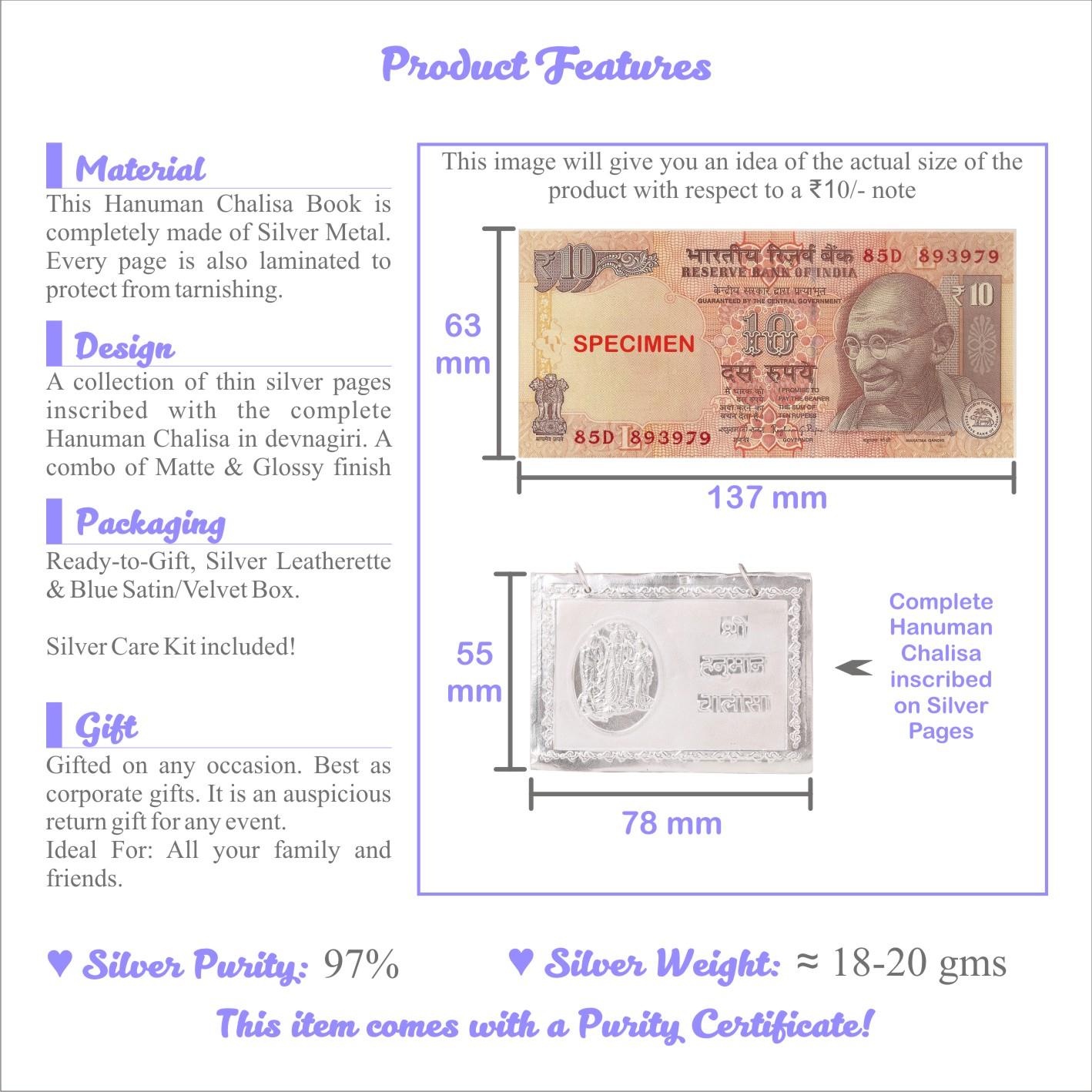 Osasbazaar Fine Silver Hanuman Chalisa Book - Features