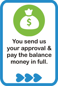 You send us your approval & pay the balance money in full.