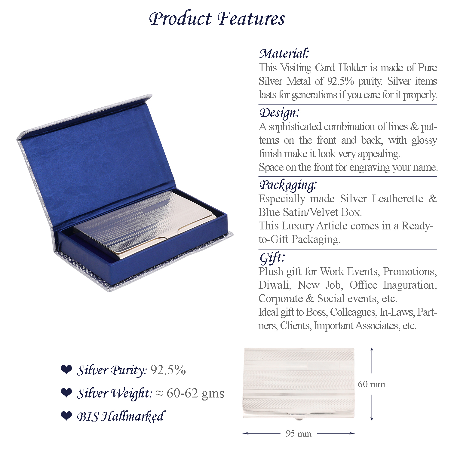 Sterling Silver Card Holder Features
