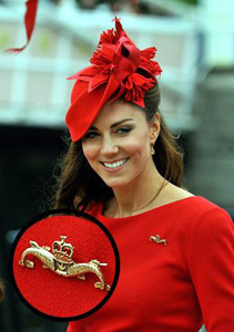 Duchess Kate Middleton with a Dolphin Brooch