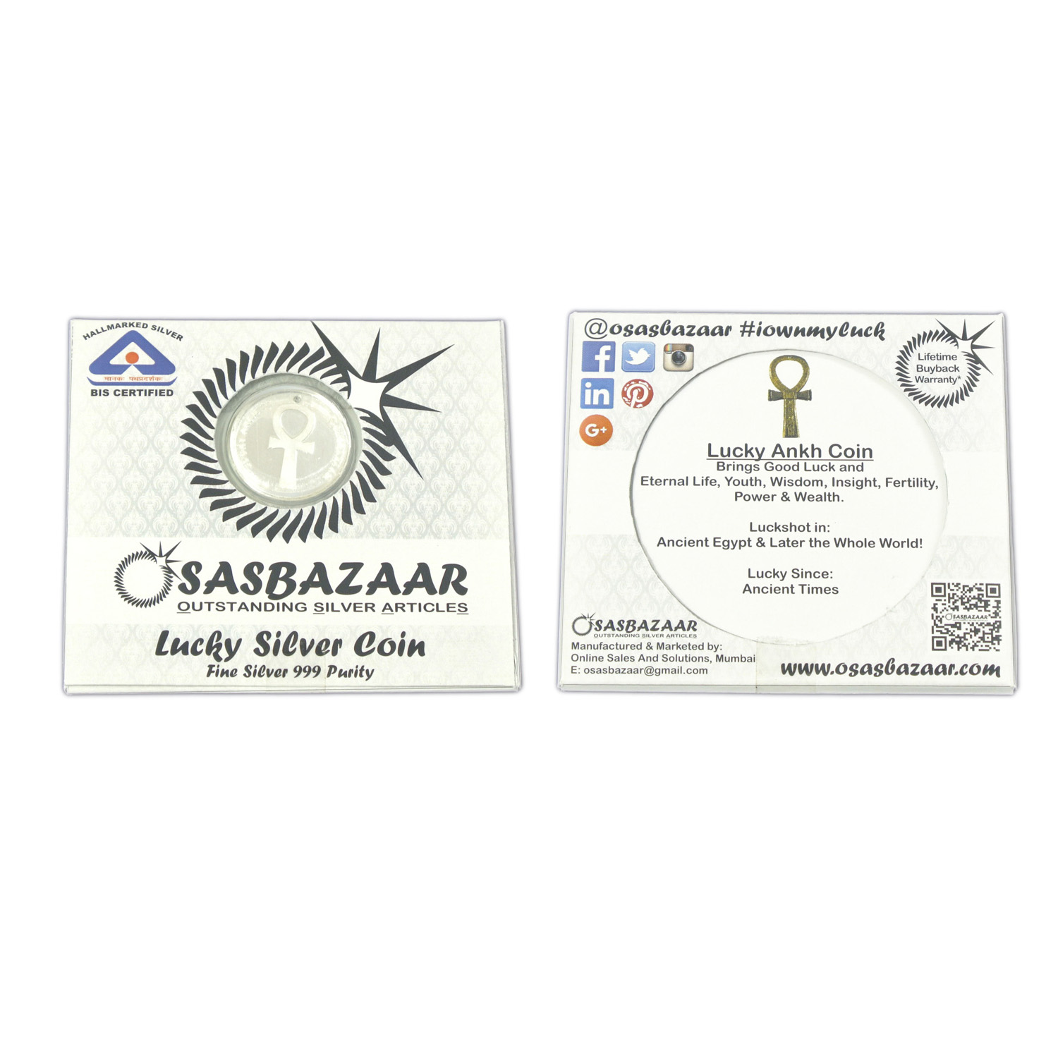 Silver Lucky Ankh Coin Packaging - Front and Back