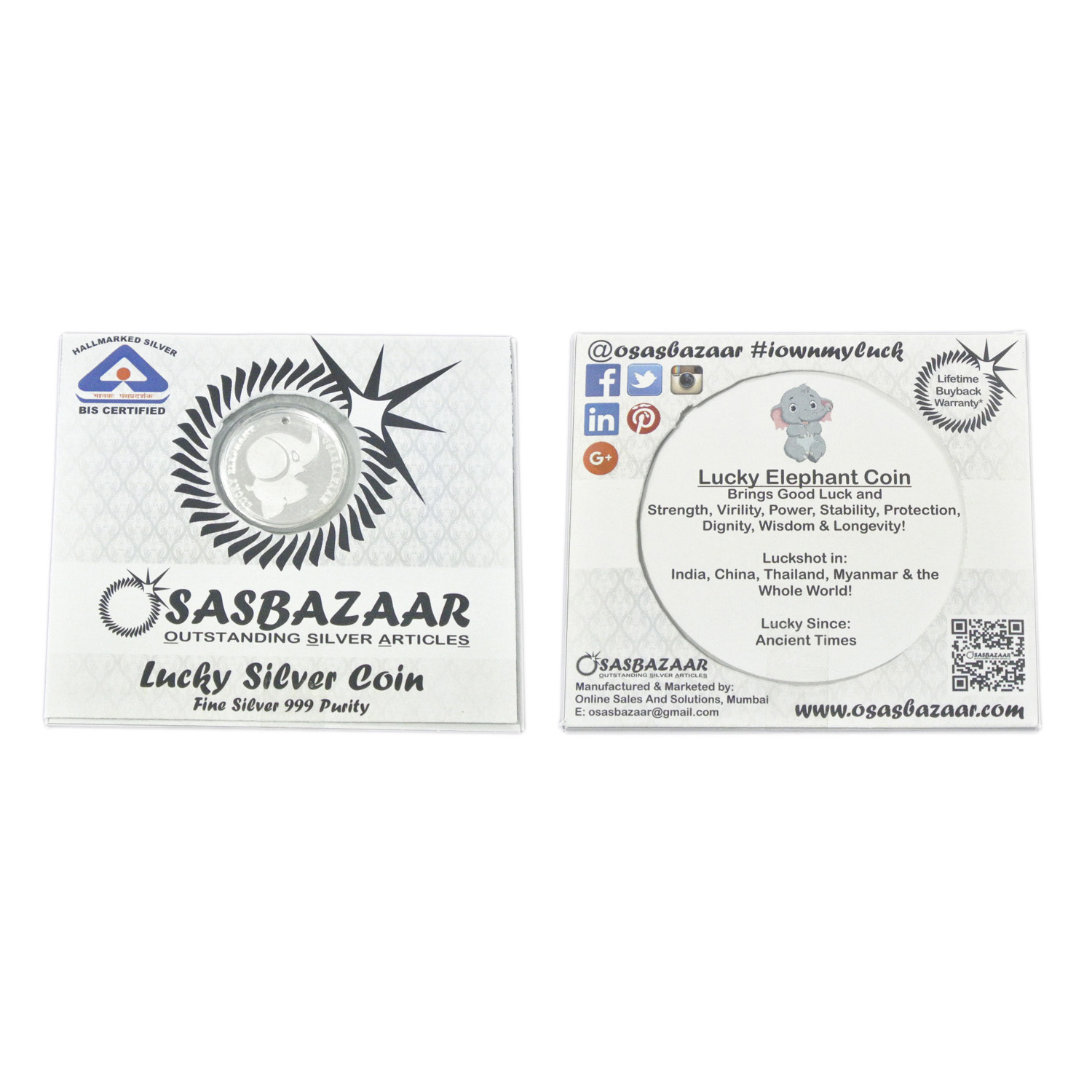 Silver Lucky Elephant Coin Packaging - Front and Back