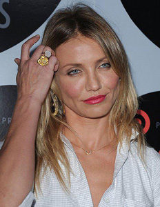 Actress Cameron Diaz with a Horseshoe Pendant