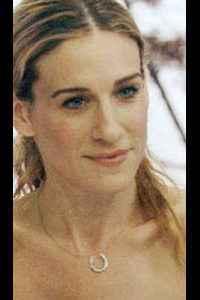 Actress Sarah Jessica Parker wearing a Lucky Horseshoe Pendant