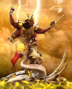 Artistic Representation of God Indra on his White Elephant Airavata