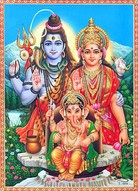 Image depicting God Ganesh with God Shiva and Goddess Parvati
