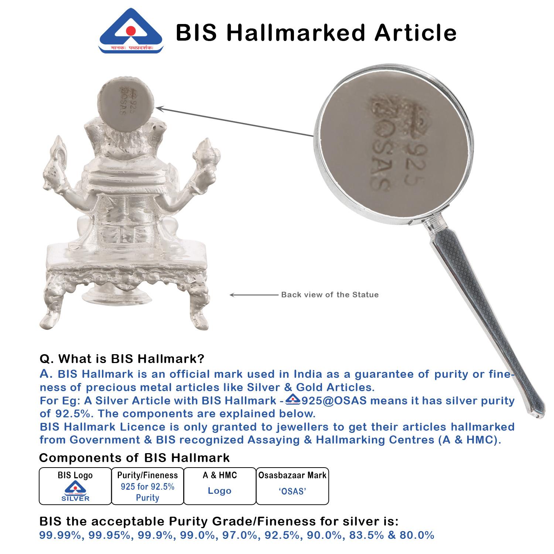 Ganesh ji in Silver by Osasbazaar BIS Hallmark