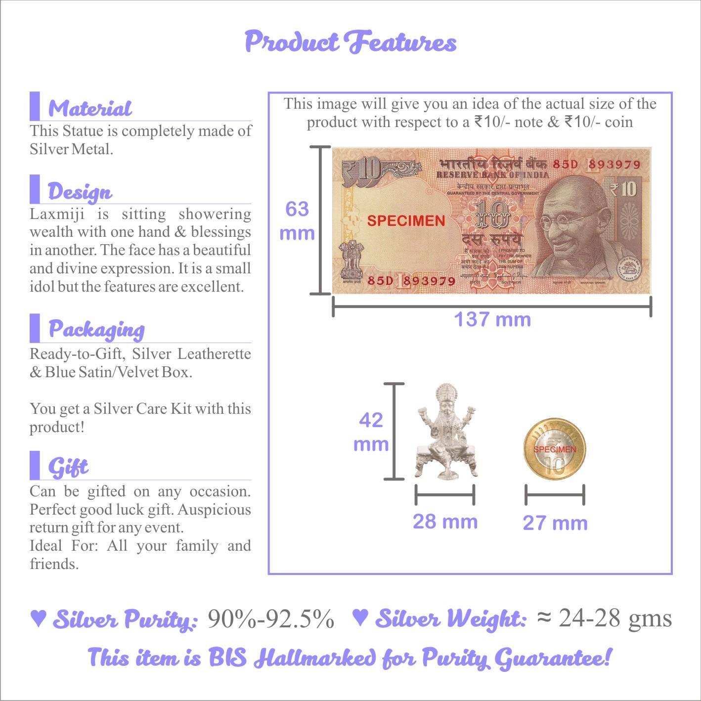 Laxmi ji in Silver by Osasbazaar Features