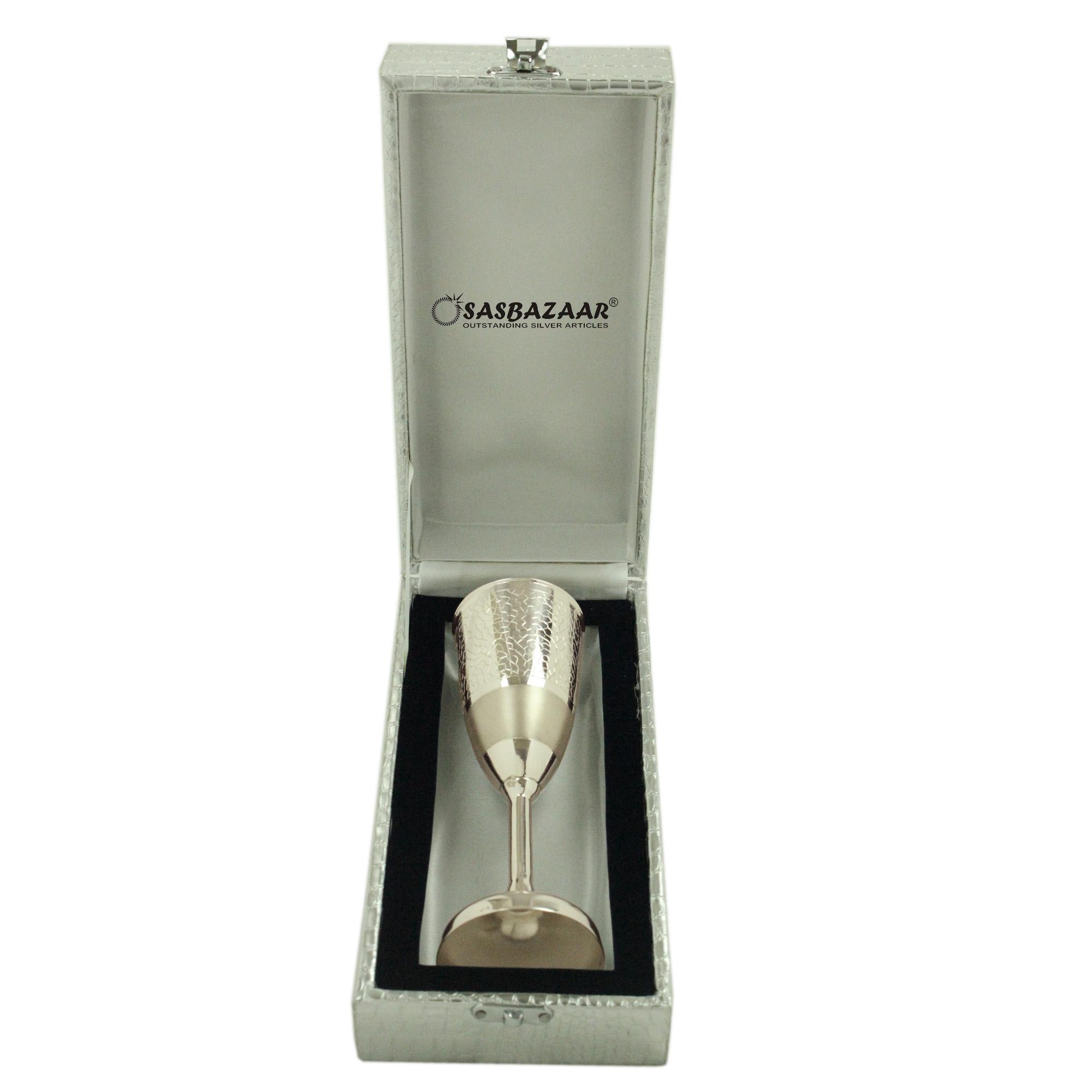 Wine Glass in Silver by Osasbazaar Packaging
