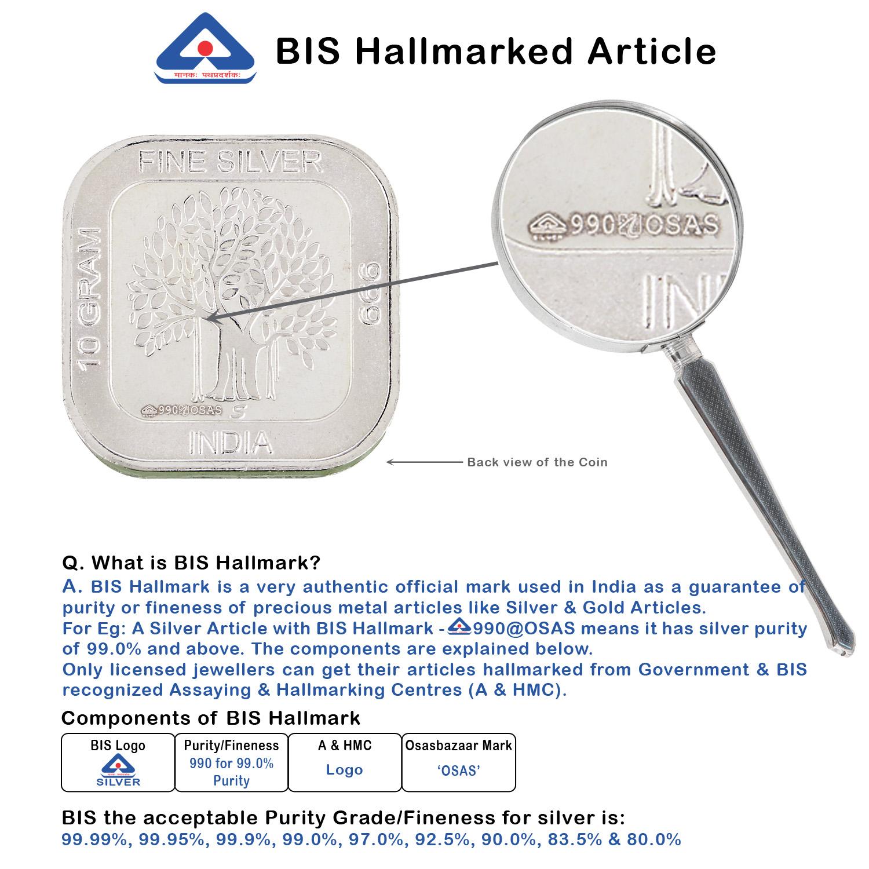 Silver Coin Square 10gm BIS Hallmark