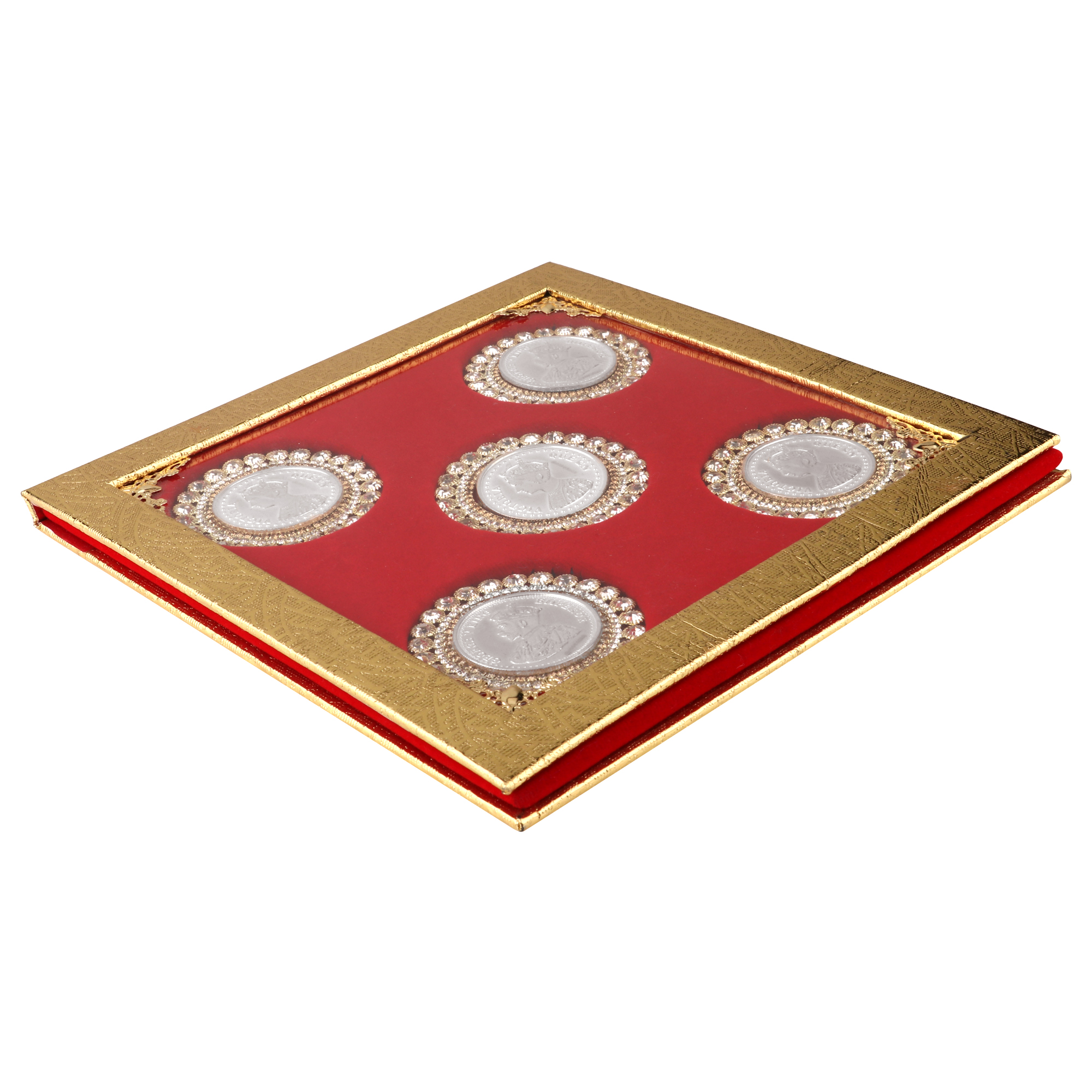 Silver Coin 10gm x5 in Red Golden Ring Packing by Osasbazaar Main