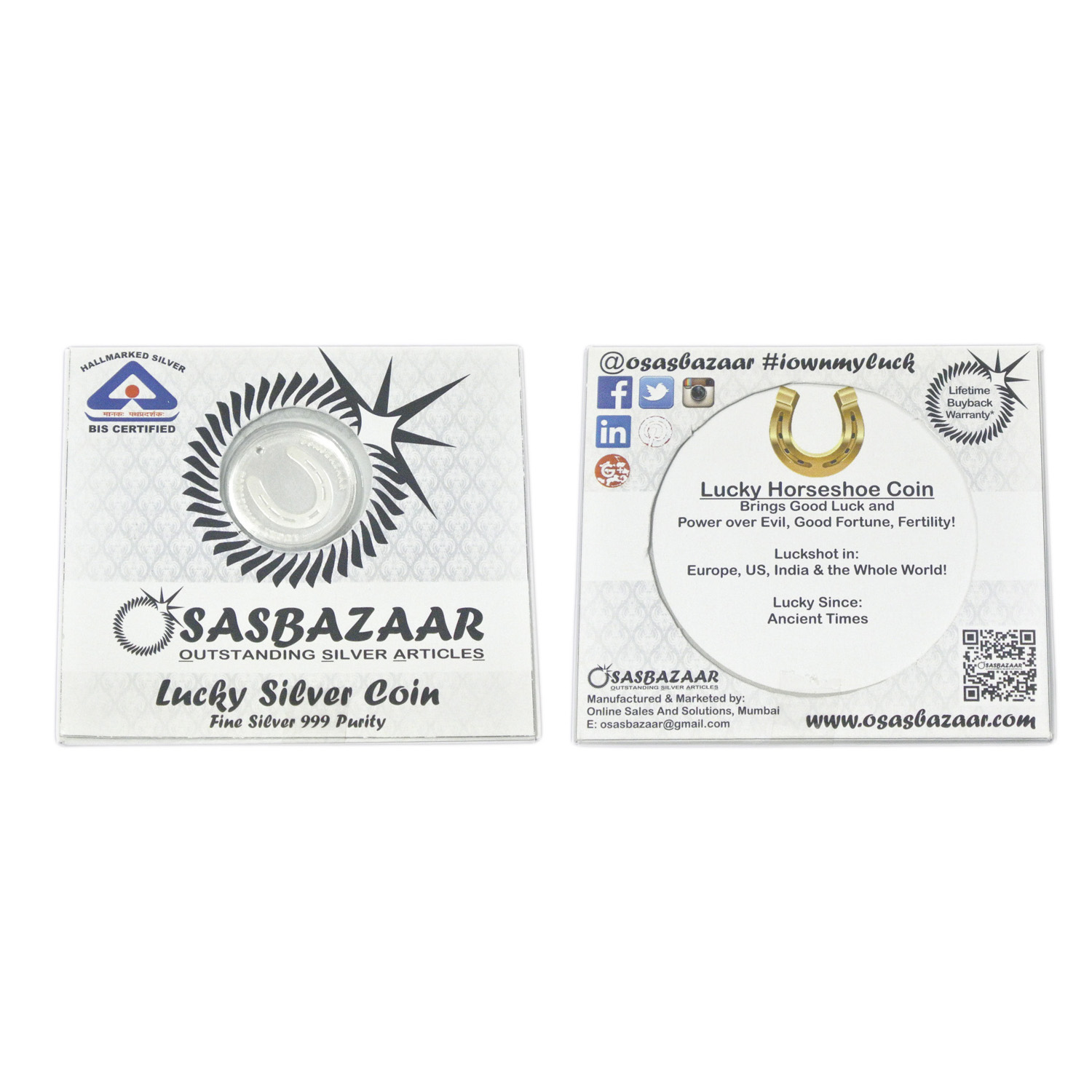 Silver Lucky Horseshoe Coin Packaging - Front and Back