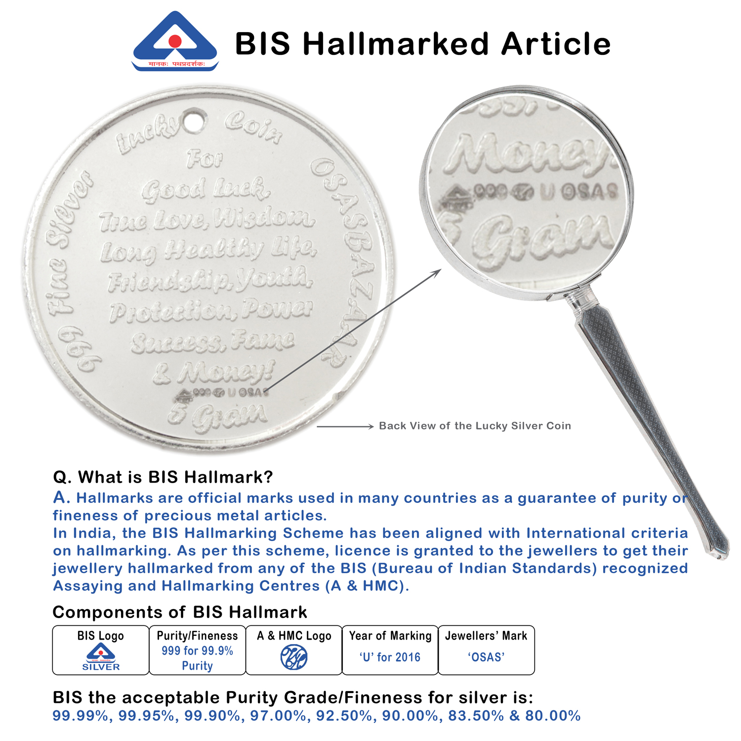 Silver Lucky Coin BIS Hallmark with 99.9% Purity