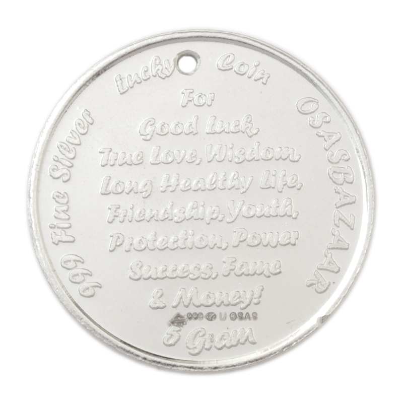 Back View of the Silver Lucky Coin with 999 BIS Hallmark!