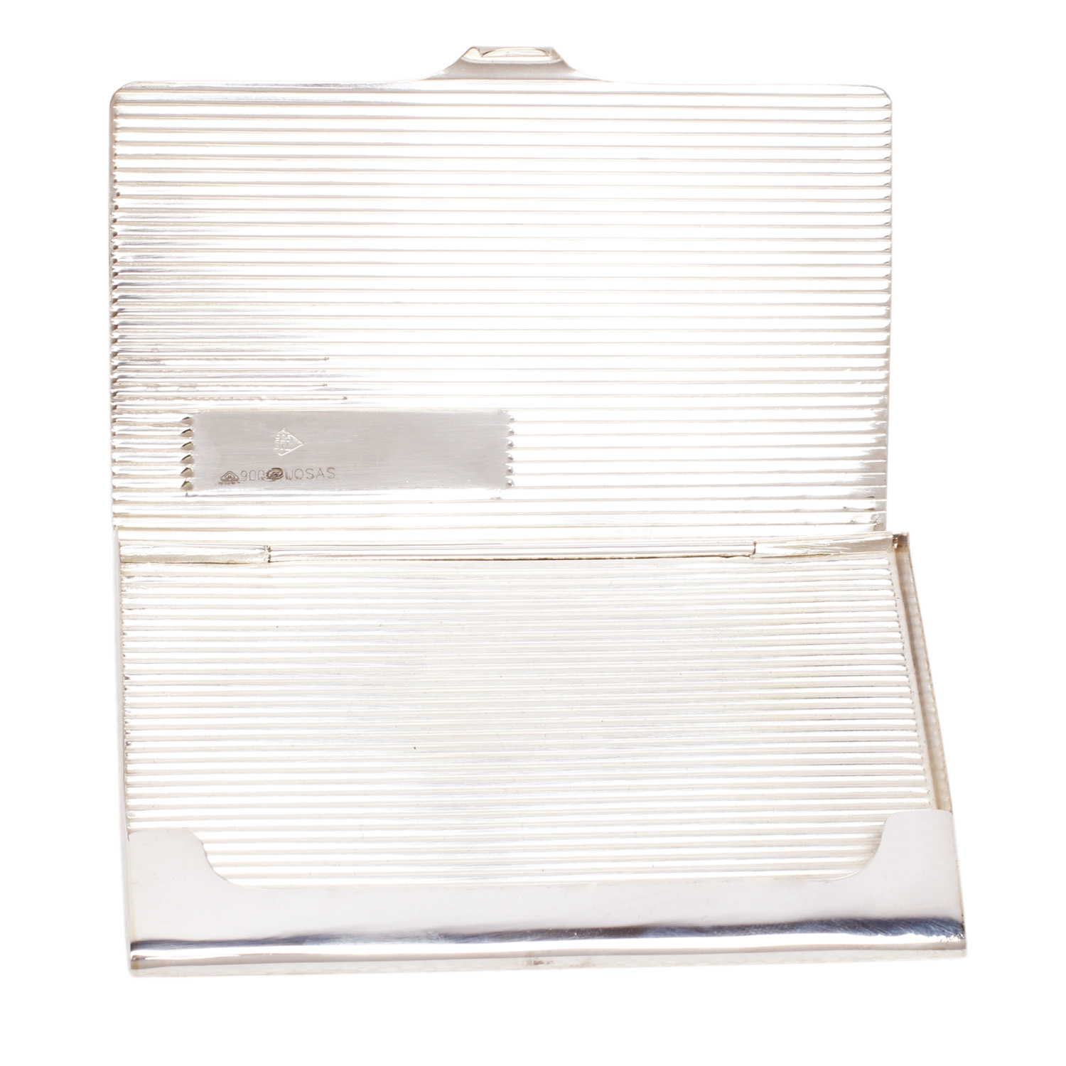 Silver Business Card Holder from the Inside