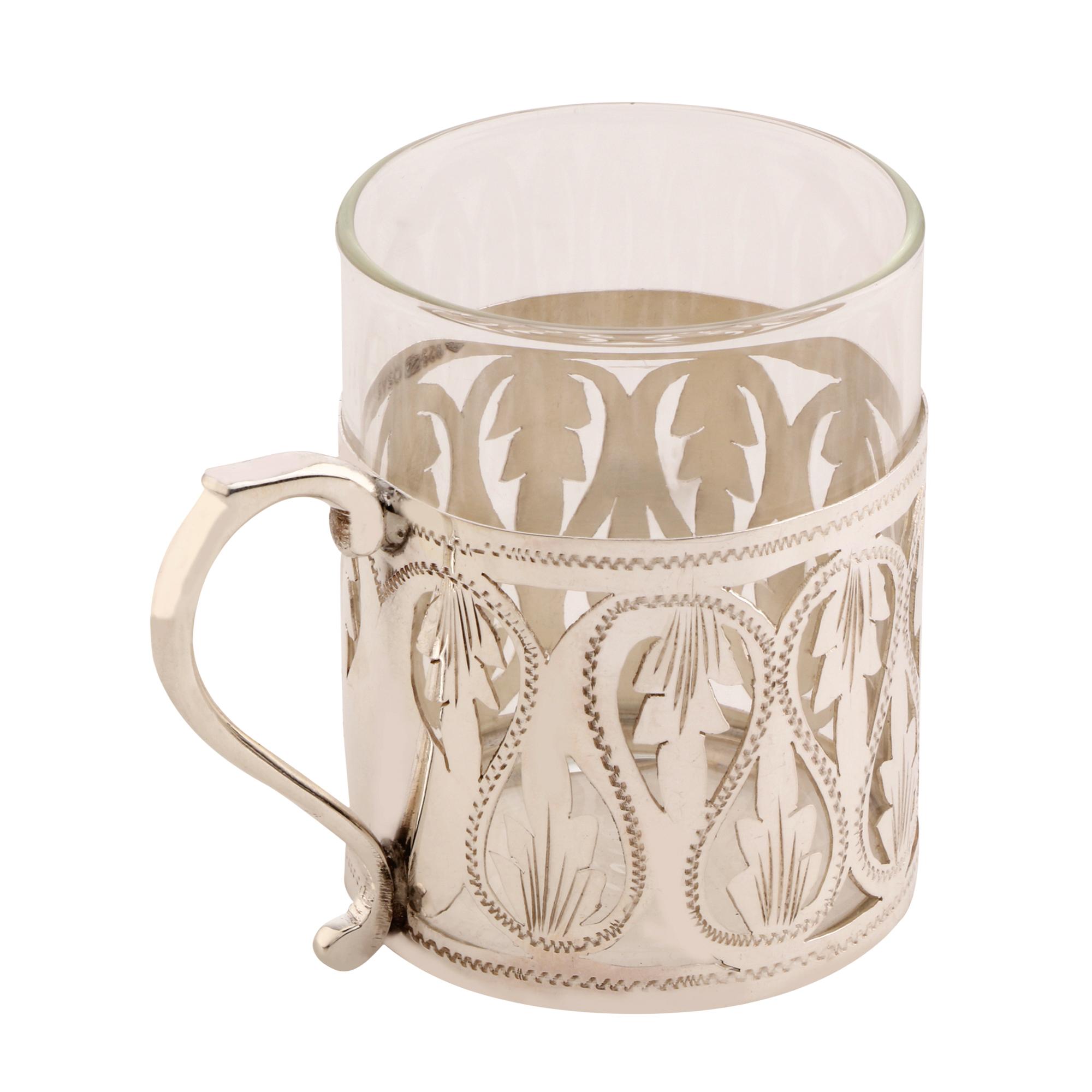 Osasbazaar Sterling Silver & Borosilicate Tea Cup, Coffee Mug - Side
