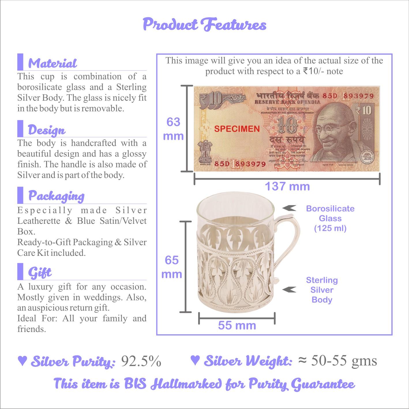Osasbazaar Sterling Silver & Borosilicate Tea Cup, Coffee Mug - Features