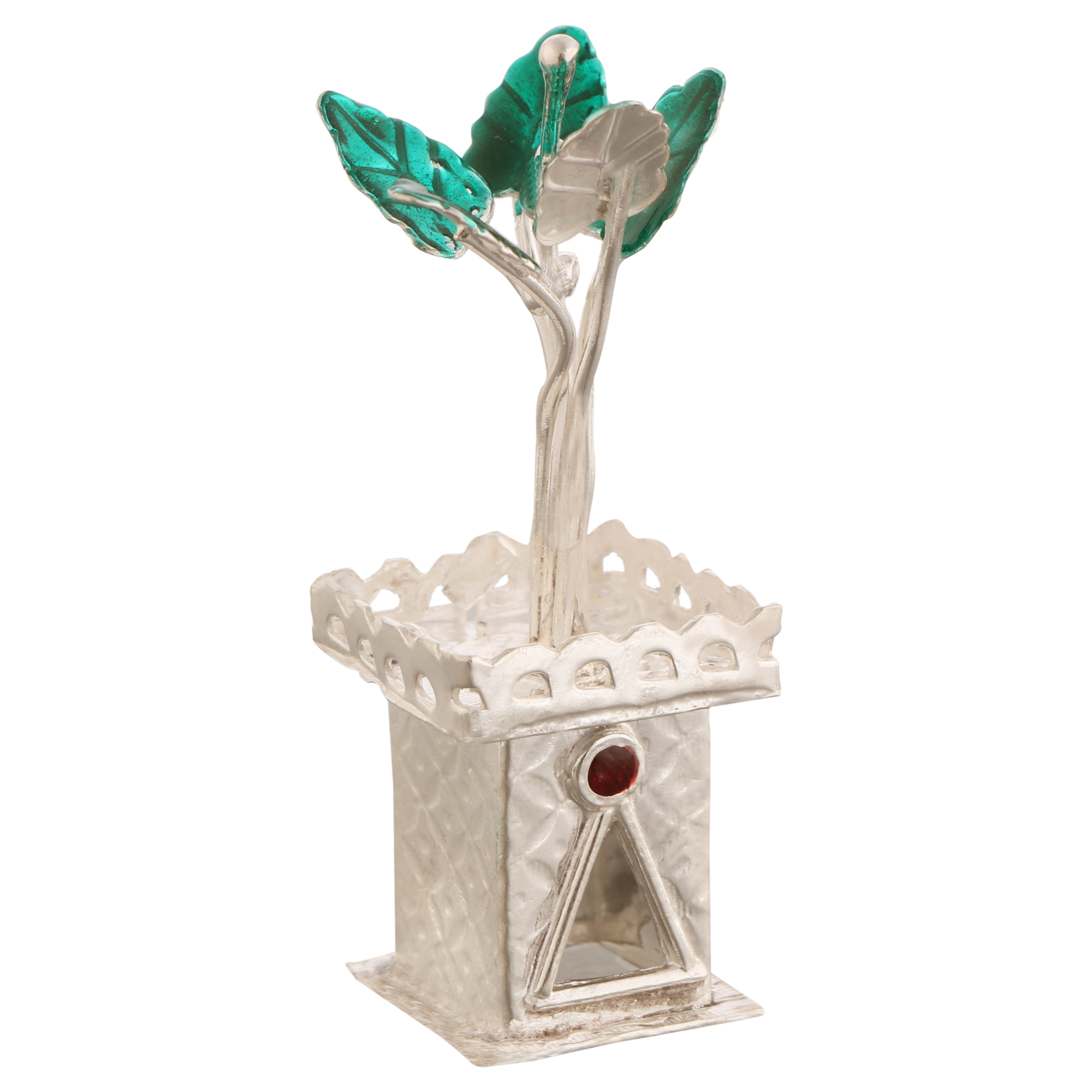 Tulsi Pot in Silver by Osasbazaar Main
