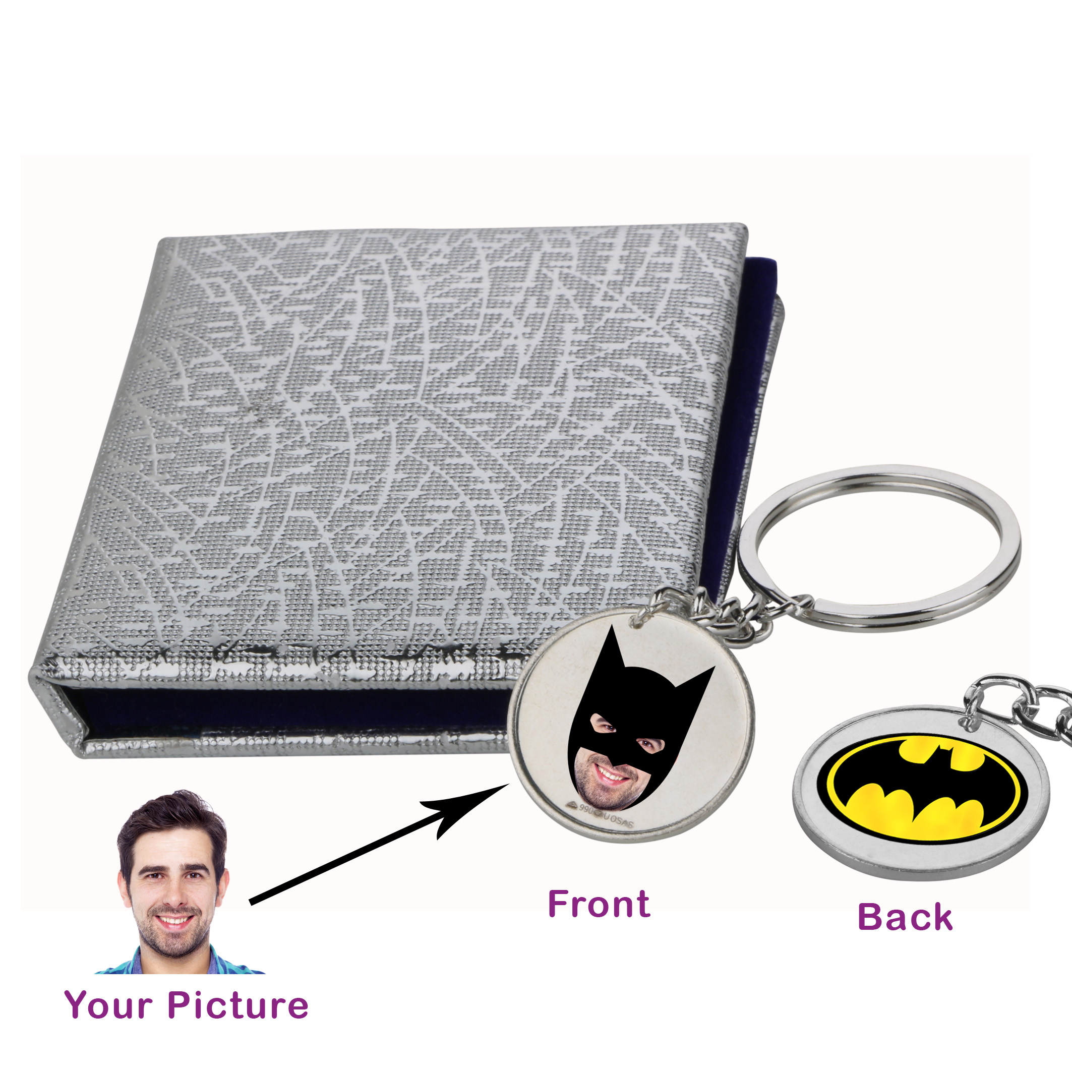 Batman and You Silver Keychain by Osasbazaar