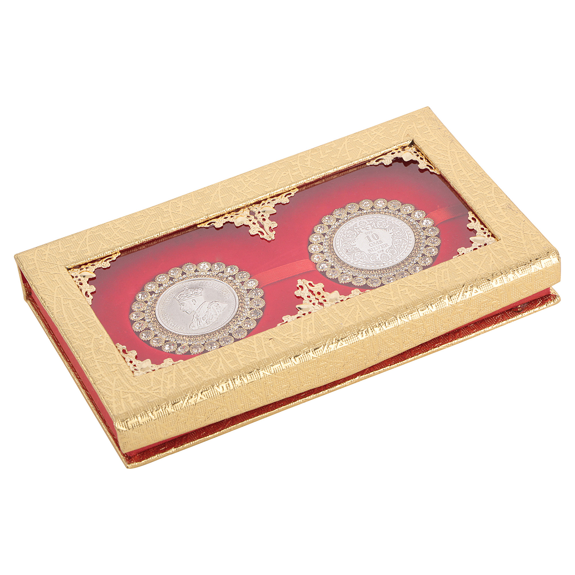 Silver Coin 10gm x2 in Red Golden Ring Packing by Osasbazaar Main