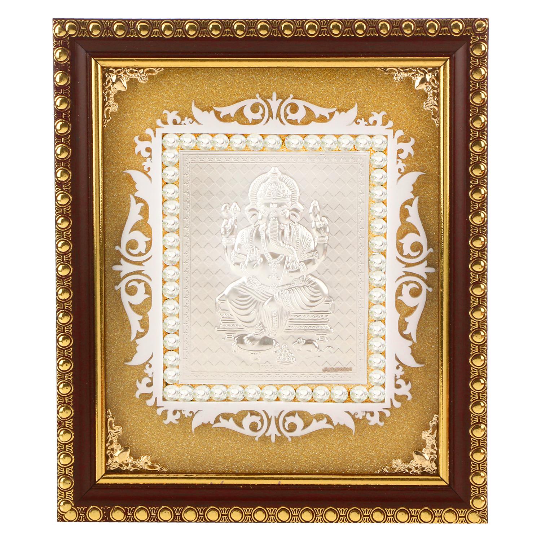 Frame Ganesh ji in Silver by Osasbazaar Main